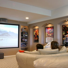 contemporary media room by M.J. Whelan Construction