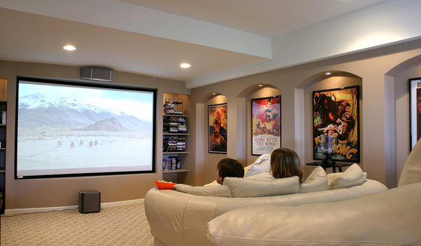 Contemporary Home Theater by M.J. Whelan Construction