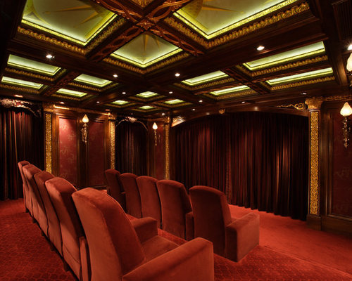 Example Of A Classic Red Floor Home Theater Design In Austin