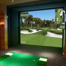 Traditional Home Theater Man Cave - Full Swing Golf Simulator