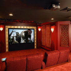 Eclectic Home Theater by Media Rooms Inc