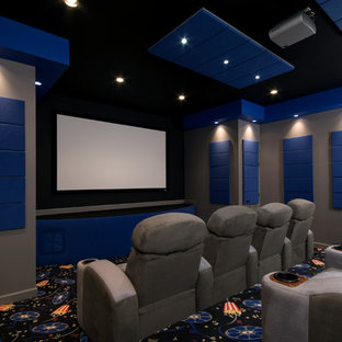 Home Theater Floor Lighting Trendy Carpeted And Multicolored Photo In Richmond With