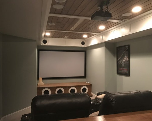 Design Small Home. Small transitional enclosed home theater photo in Chicago with gray walls  and a projector screen Best 30 Home Theater Ideas Remodeling Pictures Houzz