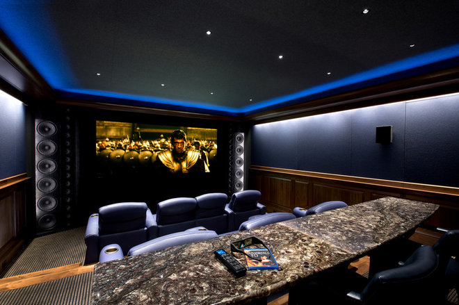 Traditional Home Theater by Gruver Cooley