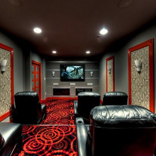 Home Theater Mid Sized Contemporary Enclosed Carpeted Idea In Dc Metro With