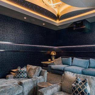 Удачное сочетание для дизайна помещения: изолированный домашний кинотеатр в современном стиле с черными стенами - самое интересное для вас