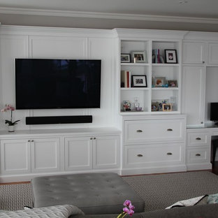 Inspiration for a contemporary home theater remodel in Boston