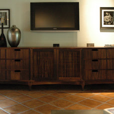 Eclectic Home Theater by Cliff Spencer Furniture Maker