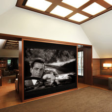 Eclectic Home Theater by Alderson Construction