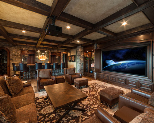 Inspiration For A Timeless Enclosed Home Theater Remodel With A Projector  Screen