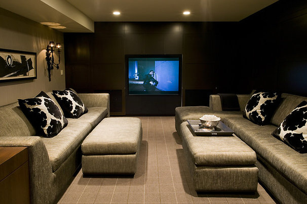 Contemporary Home Theater by Bruce Johnson & Associates Interior Design