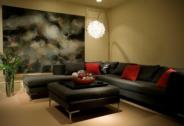 Contemporary Home Theater by Bruce Johnson & Associates Interior Design