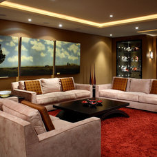 Transitional Home Theater by Douglas Design Studio