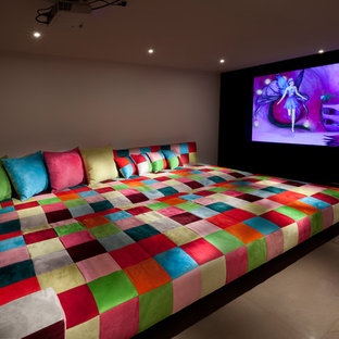Design ideas for an eclectic home theatre in Other.