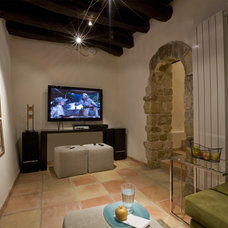 Mediterranean Home Theater by Studio Santalla, Inc