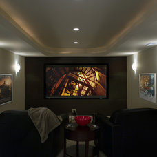 Traditional Home Theater by Great Rooms Designers & Builders