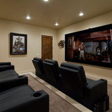 Mediterranean Home Theater by Jenkins Custom Homes