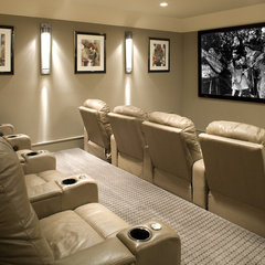 eclectic media room by John Kraemer & Sons