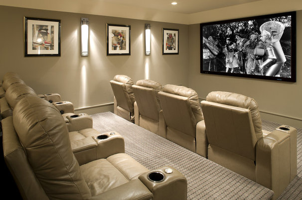 Transitional Home Theater by John Kraemer & Sons