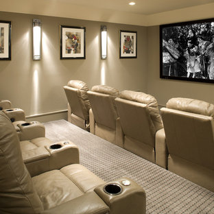 Home theater - transitional home theater idea in Minneapolis