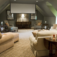 eclectic media room by Kirsten Nease Designs
