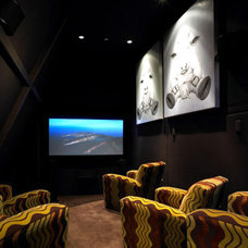 Contemporary Home Theater by LKM Design
