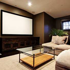 contemporary media room by Paul Moon Design