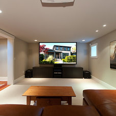 Contemporary Home Theater by Peter Rose Architecture and Interiors