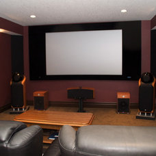 Contemporary Home Theater by London Audio Ltd
