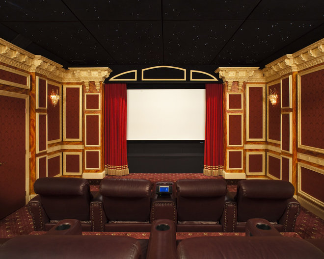 Traditional Home Theater by Prestige Custom Building & Construction, Inc.