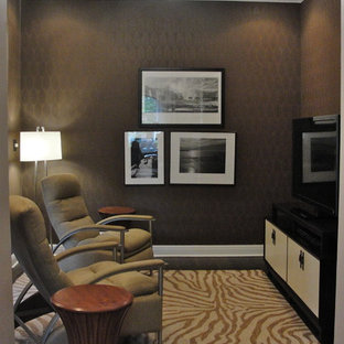 Inspiration for a contemporary home theater remodel in Chicago