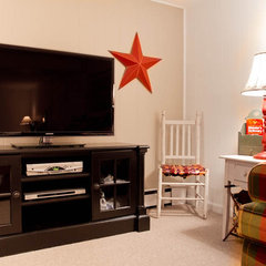 traditional media room by Rikki Snyder