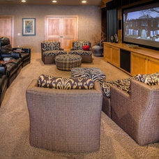 Eclectic Home Theater by Sarah Bernardy Design