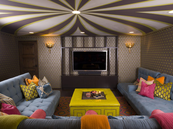 Eclectic Home Theater by SoCal Contractor
