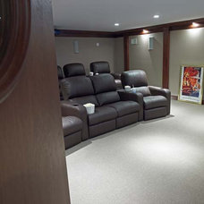 Contemporary Home Theater by Stebnitz Builders