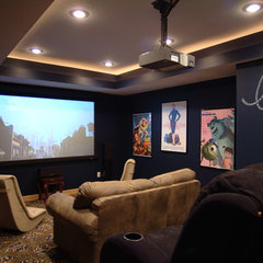 eclectic media room by TS Construction