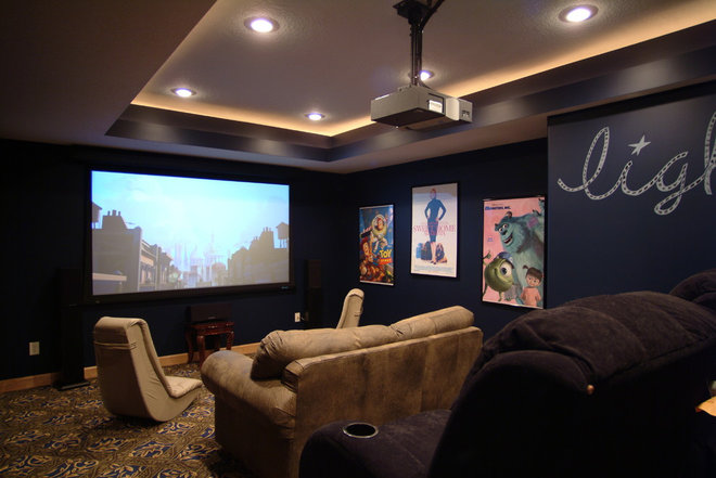 Eclectic Home Theater by TS Construction