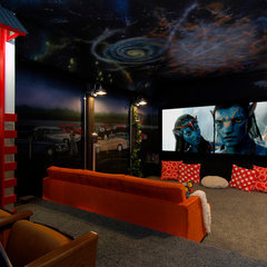 eclectic media room by Colorado Media Systems