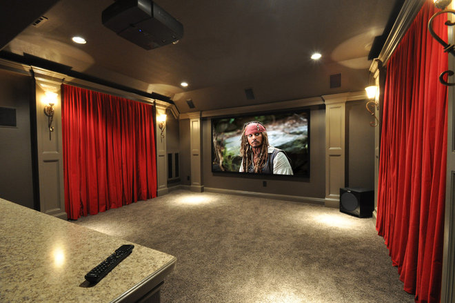 Traditional Home Theater by Modern Craft Construction, LLC