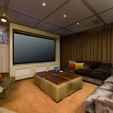 Contemporary Home Theater by Roberts Home Audio and Video Inc.