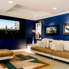 Contemporary Home Theater by Tracy Murdock Allied ASID