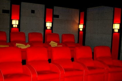Contemporary Home Theater by B.L. Rieke Custom Home Builders
