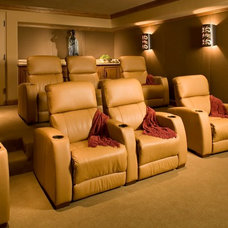 Mediterranean Home Theater by Andrea Bartholick Pace Interior Design