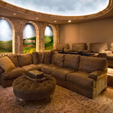Mediterranean Home Theater by Electronic Home, Inc.