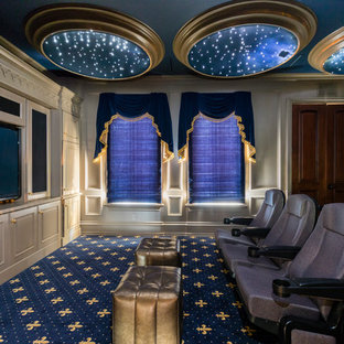 Home Theater   Mid Sized Mediterranean Enclosed Carpeted And Multicolored  Floor Home Theater Idea In
