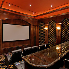 Mediterranean Home Theater by Pinnacle Architectural Studio