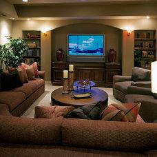 Mediterranean Home Theater by Curt Hofer & Associates