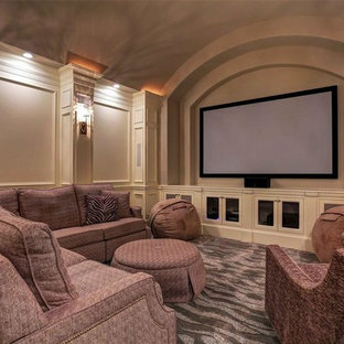 75 Most Popular Mediterranean Carpeted Home Theater Design Ideas For