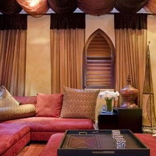 Mediterranean Home Theater by DESIGN QUEST NY, LTD.