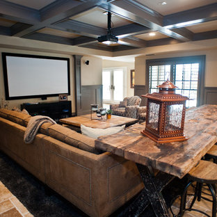 Design ideas for an expansive traditional open concept home theatre in Atlanta with beige walls, travertine floors and a projector screen.